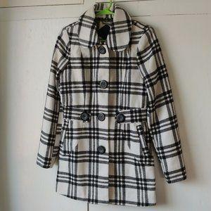 JOU JOU Black & White Plaid Light Coat SZ S